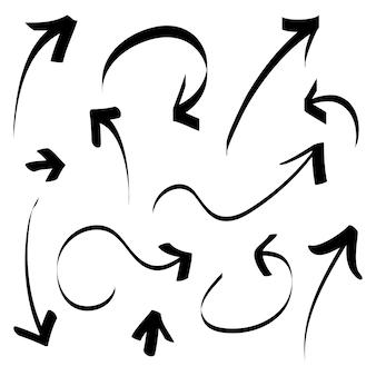 Ręcznie rysowane ikony strzałki zestaw na białym tle