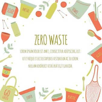 Ręcznie rysowane ikony zero odpadów element ustawić tło