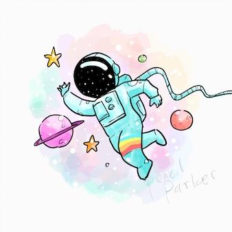 Ręcznie rysowane ilustracja astronauta