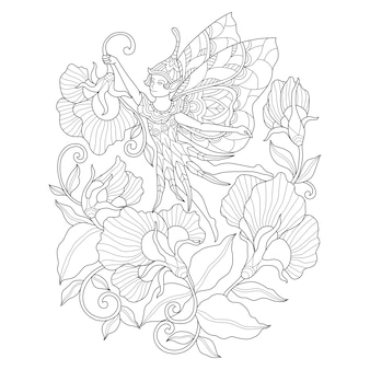 Ręcznie rysowane ilustracja bajki i kwiat