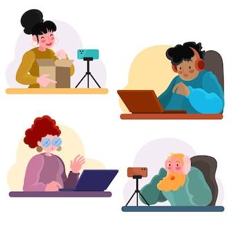 Ręcznie rysowane ilustracja blogerów