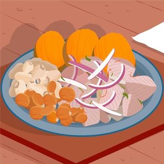 Ręcznie rysowane ilustracja ceviche