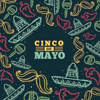 Ręcznie rysowane ilustracja cinco de mayo