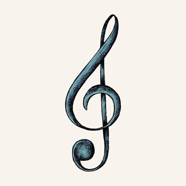 Ręcznie rysowane ilustracja clef muzyki uwaga