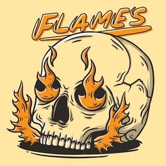 Ręcznie rysowane ilustracja czaszki z płomieniami
