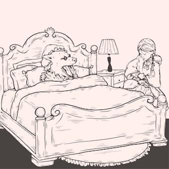 Ręcznie rysowane ilustracja czerwony kapturek