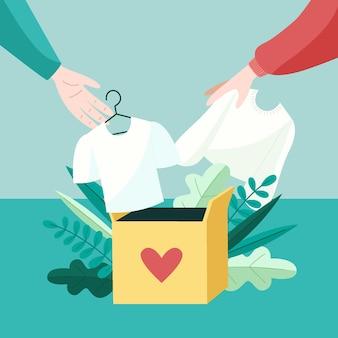 Ręcznie rysowane ilustracja darowizny odzieży