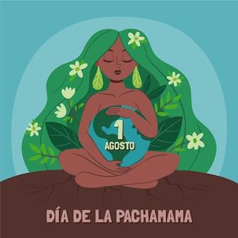 Ręcznie rysowane ilustracja dia de la pachamama