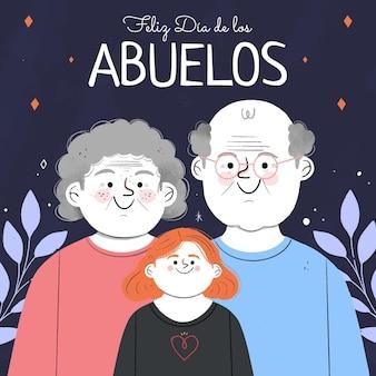 Ręcznie rysowane ilustracja dia de los abuelos z dziadkami
