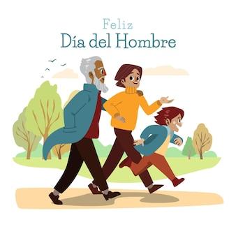 Ręcznie rysowane ilustracja dia del hombre