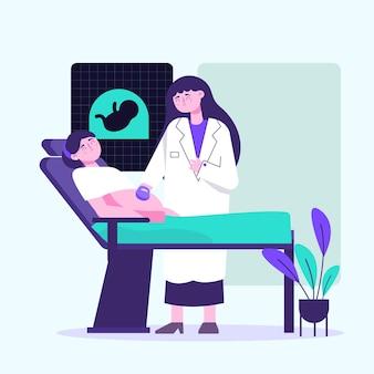 Ręcznie rysowane ilustracja dia internacional de la położnictwo y la embarazada