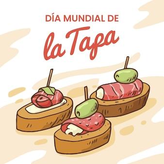 Ręcznie rysowane ilustracja dia mundial de la tapa