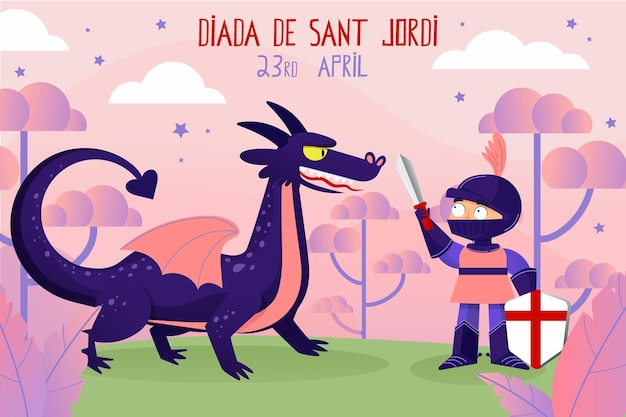 Ręcznie rysowane ilustracja diada de sant jordi z rycerzem walczącym ze smokiem