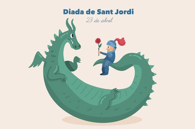 Ręcznie rysowane ilustracja diada de sant jordi ze smokiem i rycerzem