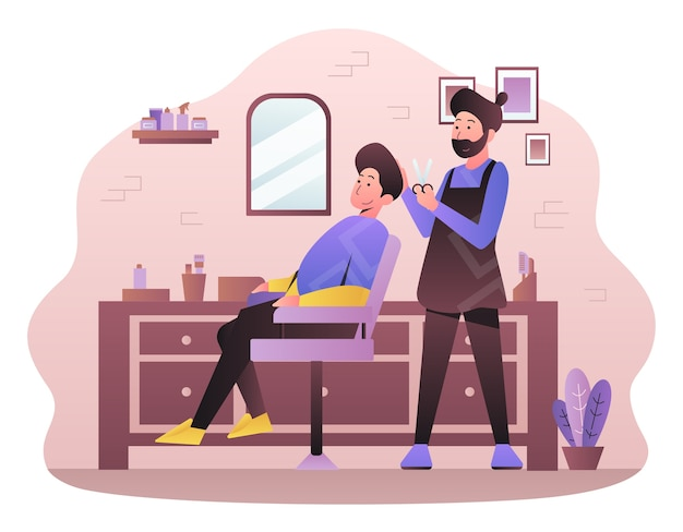 Ręcznie rysowane ilustracja dla zakładów fryzjerskich
