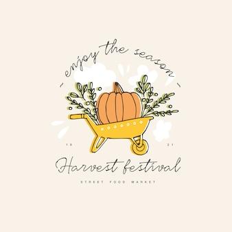 Ręcznie rysowane ilustracja do zbiorów jesień festiwal. szkic logo w stylu taczki z dynią na zaproszenie na wydarzenie, imprezę.