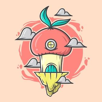 Ręcznie rysowane ilustracja domu grzybów