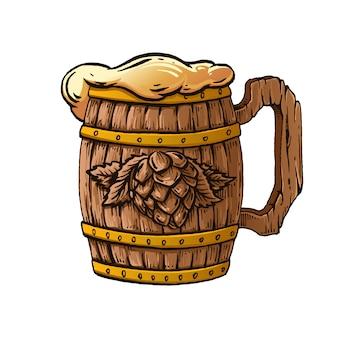 Ręcznie rysowane ilustracja drewniany kubek piwa.