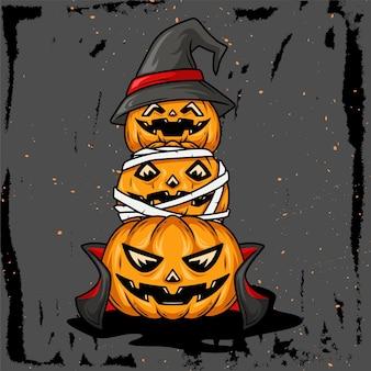 Ręcznie rysowane ilustracja dyni z postaciami mumii wampirów i czarownic ułożonymi na helloween