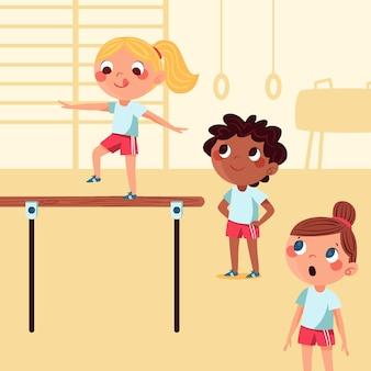 Ręcznie rysowane ilustracja dzieci w klasie wychowania fizycznego