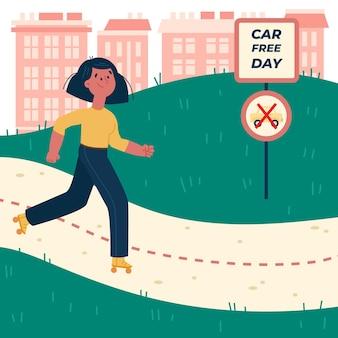 Ręcznie rysowane ilustracja dzień bez samochodu świata