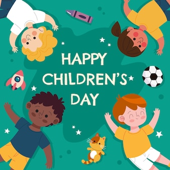 Ręcznie Rysowane Ilustracja Dzień Dziecka Płaski świat Premium Wektorów