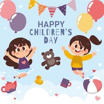 Ręcznie rysowane ilustracja dzień dziecka płaski świat