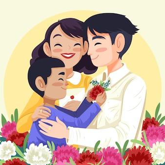 Ręcznie rysowane ilustracja dzień koreańskich rodziców