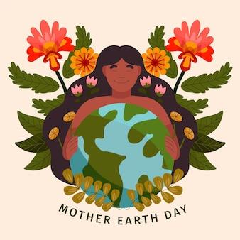 Ręcznie Rysowane Ilustracja Dzień Matki Ziemi Darmowych Wektorów