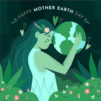 Ręcznie rysowane ilustracja dzień matki ziemi