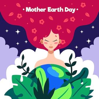 Ręcznie Rysowane Ilustracja Dzień Matki Ziemi Premium Wektorów