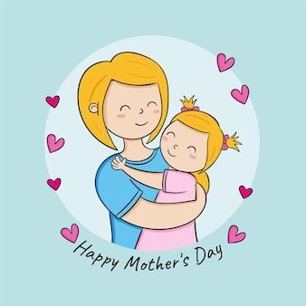 Ręcznie rysowane ilustracja dzień matki