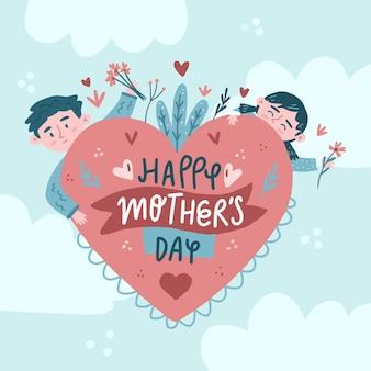 Ręcznie Rysowane Ilustracja Dzień Matki Premium Wektorów