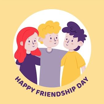 Ręcznie rysowane ilustracja dzień międzynarodowej przyjaźni