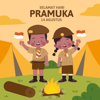 Ręcznie rysowane ilustracja dzień pramuka