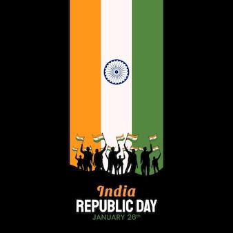 Ręcznie rysowane ilustracja dzień republiki indii.
