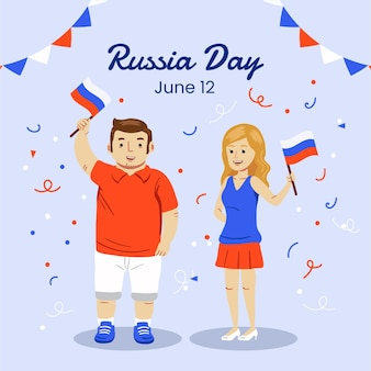 Ręcznie rysowane ilustracja dzień rosji