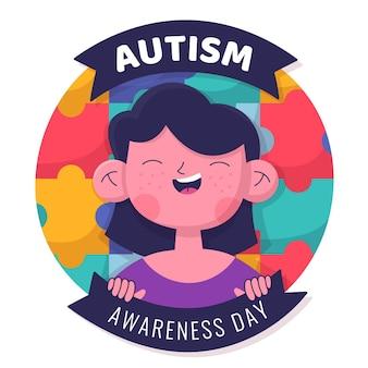 Ręcznie rysowane ilustracja dzień świadomości autyzmu świata