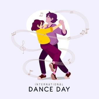Ręcznie rysowane ilustracja dzień tańca międzynarodowego