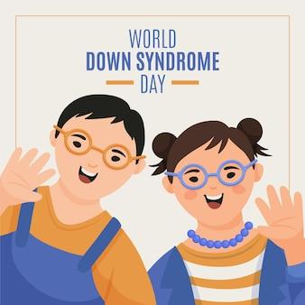 Ręcznie rysowane ilustracja dzień zespołu downa świata