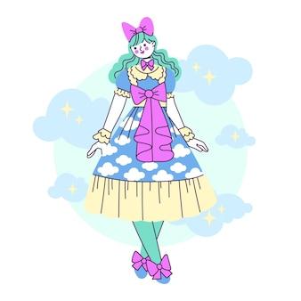 Ręcznie rysowane ilustracja dziewczyna w stylu lolita płaska