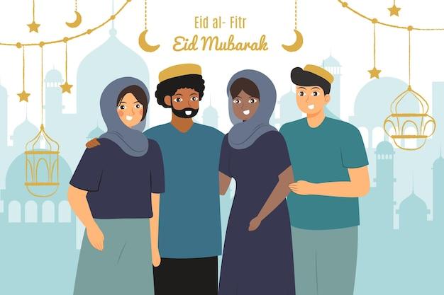 Ręcznie rysowane ilustracja eid al-fitr