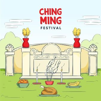 Ręcznie rysowane ilustracja festiwalu ching ming