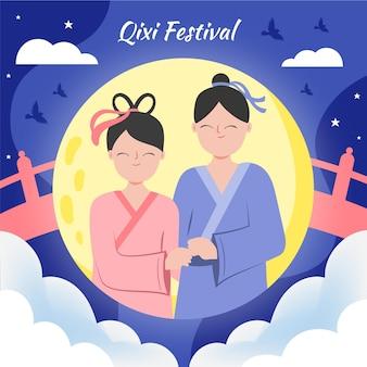 Ręcznie rysowane ilustracja festiwalu qi xi day
