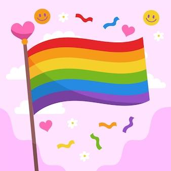 Ręcznie rysowane ilustracja flaga dnia dumy