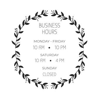 Ręcznie rysowane ilustracja godziny otwarcia firmy