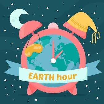 Ręcznie rysowane ilustracja godziny ziemskiej z planetą i zegarem
