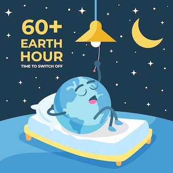 Ręcznie rysowane ilustracja godziny ziemskiej z planetą w łóżku, wyłączając światło