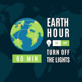 Ręcznie rysowane ilustracja godziny ziemskiej z planetą
