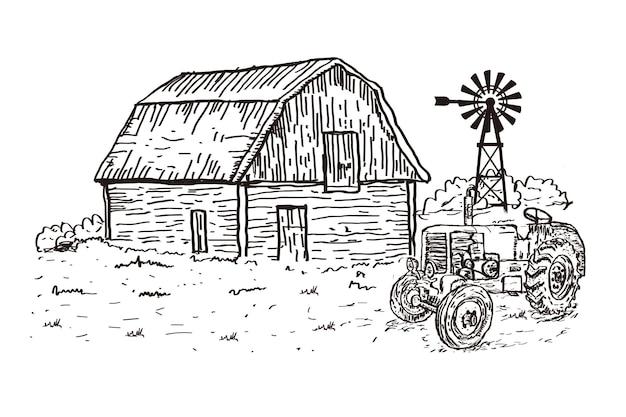 Ręcznie rysowane ilustracja gospodarstwa